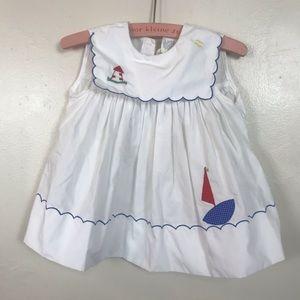 VTG 80s BABY GIRL LIGHTHOUSE SMOCKED DRESS SIZE 2T